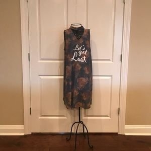 NWOT Entro grey floral choker dress